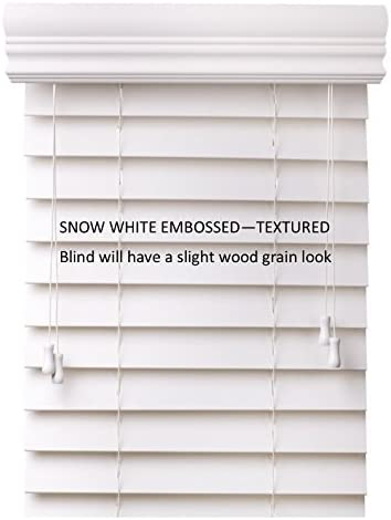 spotblinds Custom Cut to Size 2 Premium Faux Wood Blinds from 24 Wide to 60 Long Color Snow White Embossed 35 W x 44 L