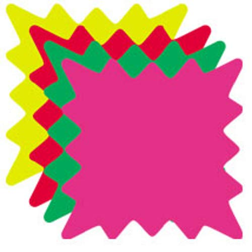 Die Cut Burst Fluorescent Price Card with 5 x 5 Inch - 100 Cards per Pack