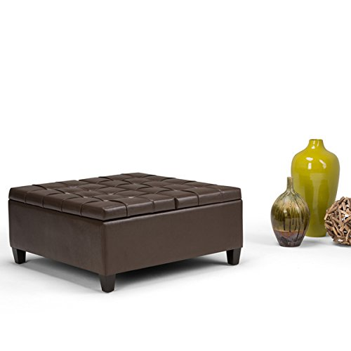 WYNDENHALL Elliot Coffee Table Storage Ottoman (Tanners Brown)