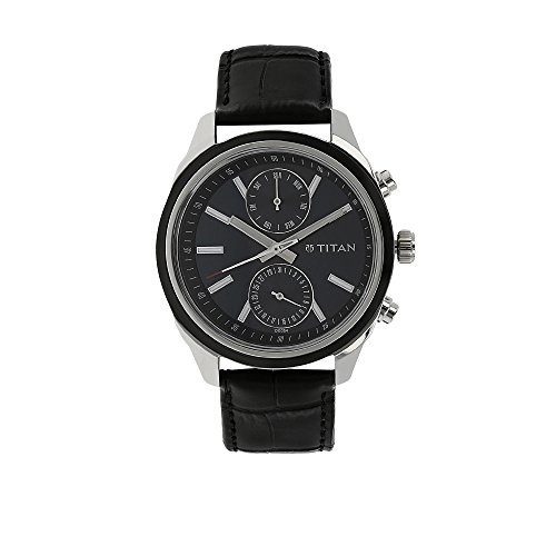 Titan Men's 'Neo' Fashion Casual Business Luxury Mineral Quartz Dial -Leather Brass and Silver Toned Strap