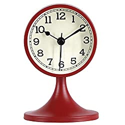 Queena Retro Round Silent Alarm Clock Non-Ticking Battery Operated Desk Clock for Bedroom Office Red