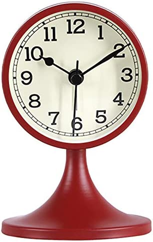 Queena Retro Round Silent Alarm Clock Non-Ticking Battery Operated Desk Clock for Bedroom Red