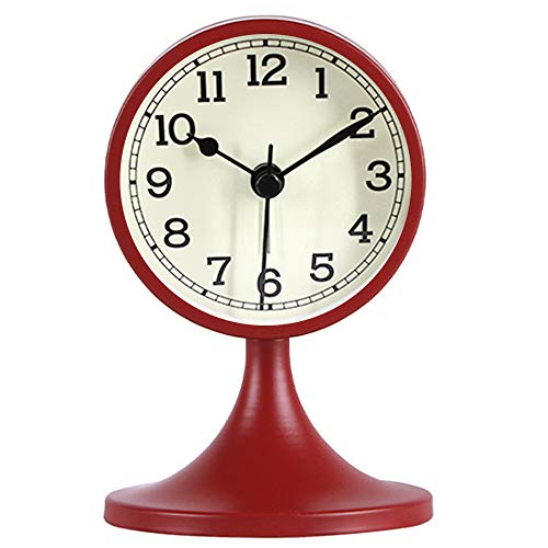 Queena Retro Round Silent Alarm Clock Non-Ticking Battery Operated Desk Clock for Bedroom Office Red (Round Table Clock)