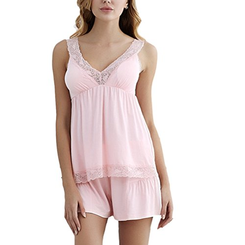 Zhhlinyuan Summer Womens Lace Sling Nightwear Two pieces Thin Section Pyjamas Set Light Pink
