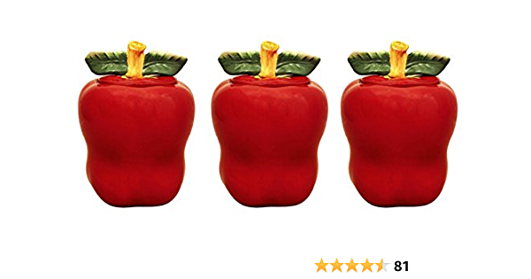 Amazon Com Tuscany Red Apple Ceramic 3 Piece Canister Set 6 1 4 87402 By Ack Kitchen Dining