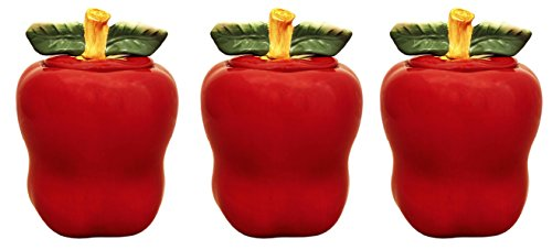 Tuscany Red Apple Ceramic, 3-Piece Canister Set, 6-1/4 87402 by (Apple Canister Sets)