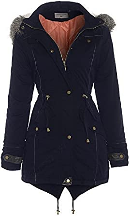 Womens Navy Parka Coat