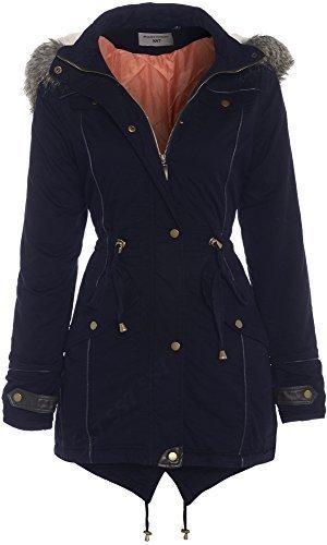 tailles capuche 8 24 Marine ample femmes Manteau Parka Bleu pour SS7 Y71dqaxa