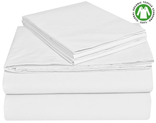 EnvioHome GOTS Certified Organic Cotton Sheet Set - 4 Pc - White, Queen