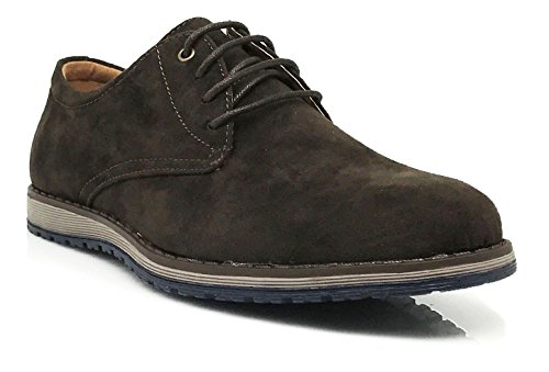 Enzo Romeo SMT Mens Original Leather Insole Suede Classic Oxfords Lace Up Driving Casual Flats Dress Shoes Brown efbPREl