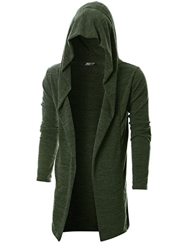 GIVON Mens Long Sleeve Draped Lightweight Open Front Longline Hooded Cardigan/DCC055-KHAKI-M (Sweater Knit Mens)