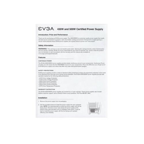EVGA 500 W1, 80+ WHITE 500W, 3 Year Warranty, Power Supply 100-W1-0500-KR, Black