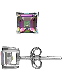 1.66ct. 5MM Square Shape Mystic Fire Topaz White Gold Plated 925 Sterling Silver Stud Earrings