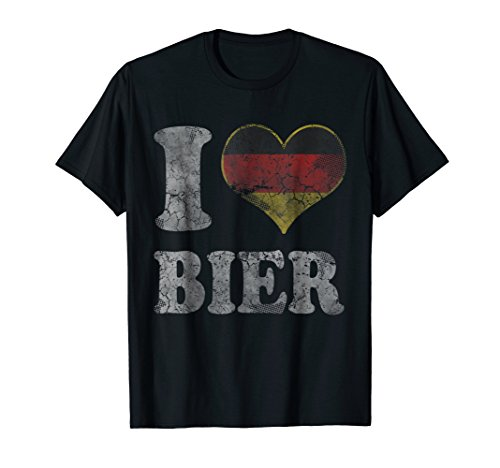 German Beer T-shirts - Mens Oktoberfest I Heart German Bier Germany T-Shirt Large Black