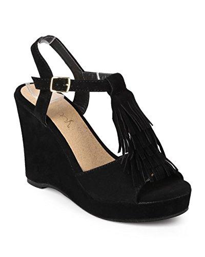 Women Suede Peep Toe Fringe T-Strap Wedge Sandal EJ31 - Black (Size: 7.0) - Fringe T-strap Sandals