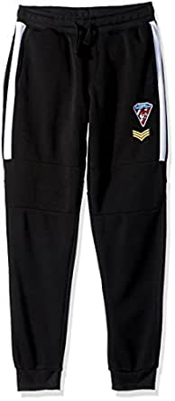 Southpole Big Boys' Fleece Jogger Pants With Twill Detail and Multi Patches, Black, Small