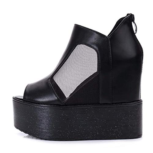 Sponge Shoes Floor Black Shoes Table Gauze Waterproof Thick Inside SFSYDDY Mouth Fashionable Heighten Breathable Women'S Cake Sandals Heel Slope Fish aBA15wqSZ