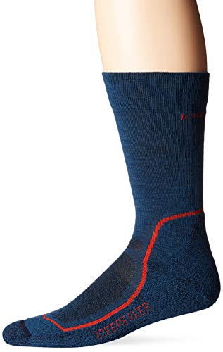 (Icebreaker Merino Men's Hike Light Crew Hiking Socks, Medium, Prussian Blue/Midnight Navy/Chili Red)