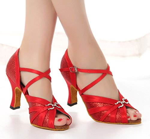 Tda Femmes Boucle De Cheville Boucle Satin Salsa Tango Samba Rumba Chaussures De Danse Latine Moderne De Mariage Rouge-8cm Talon