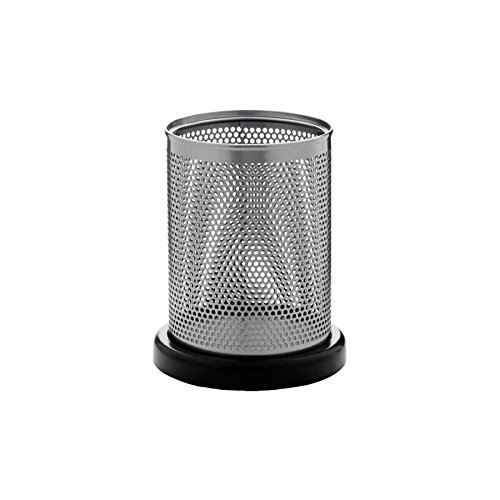Rolodex Distinctions Metal and Wood Pencil Cup, 3.5 Inches Diameter x 4.5 Inches Height, Black (E23569)