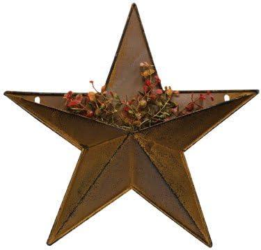 "Rustic Primitive Rusty Tin 12/"" Pocket Barn Star home decor New"
