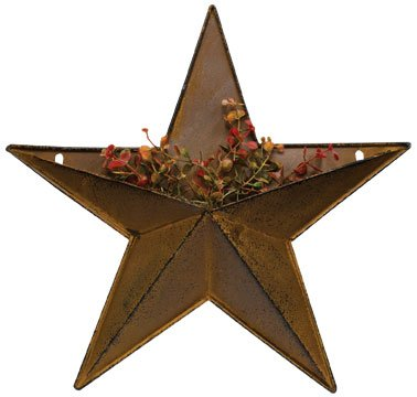 Pocket Dimensional Rustic Steel Metal Barn Star Hanger, 12-inch, Makes Great Planter from Home Collection