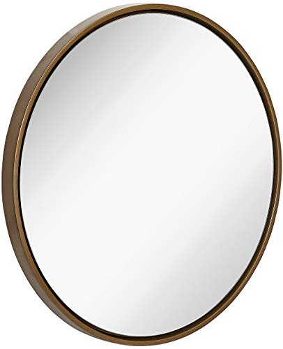 - Clean Large Modern Copper Circle Frame Wall Mirror | Contemporary Premium Silver Backed Floating Round Glass Panel | Vanity, Bedroom, or Bathroom | Hanging