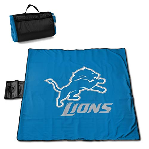 MamaTina Custom Colourful Outdoor Waterproof Picnic Mat Detroit Lions Football Team Large Picnic Blanket Beach Mat with Tote for Hiking Camping Traveling 57x59 Inch