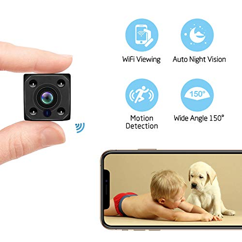 Wireless WiFi Spy Camera, Mini Hidden Camera HD 1080P Video Recorder Auto Night Vision for Home Security Motion Detection Nanny Cam Small Cam for Indoor Outdoor