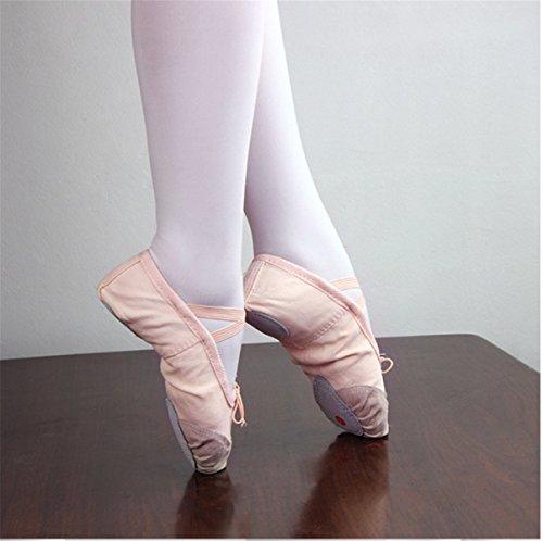 YOGLY Zapatos de Baile Para Niñas Ballet Danza Suelas Blandas, Cómodos Profesional Bailarina Zapatos Transpirables Zapatos de Baile de Alta Calidad Rosa 2
