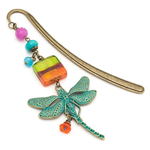 Rainbow dragonfly gemstone and glass beaded bronze metal unique bookmark