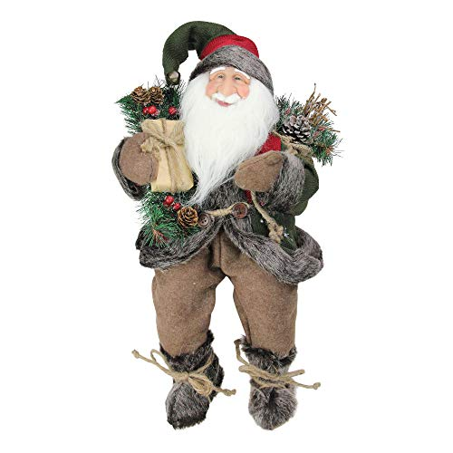 NORTHLIGHT E76599 12 Country Rustic Sitting Santa Claus Christmas Figure with Knitted Snowflake Jacket