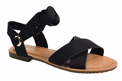 Sandalo Con Cinturino Alla Caviglia In Pelle Vegan Angelina Da Donna Vegan Nero