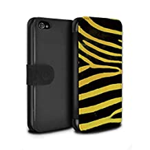 STUFF4 PU Leather Wallet Flip Case/Cover for Apple iPhone 4/4S / Yellow Design / Zebra Animal Skin/Print Collection