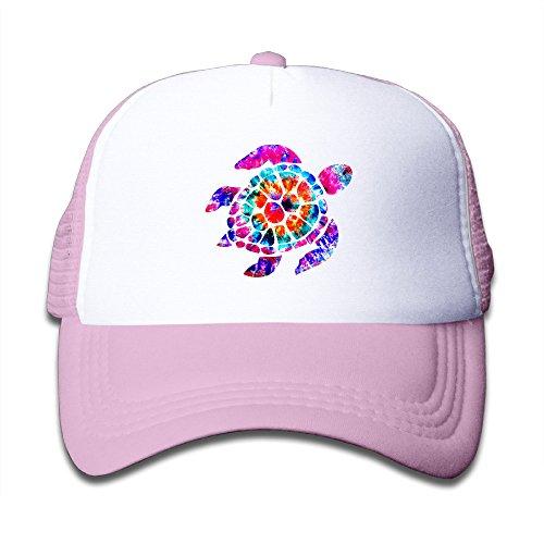 LOKIDVE Tie Dye Turtle2 Kids Mesh Cap Trucker Caps Hat Adjustable Pink