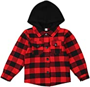 goowrom Toddler Boys Girls Plaid Jacket Long Sleeve Button Hoodie Infant Spring Fall Winter Outfits