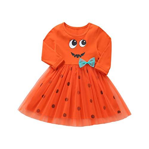Kids Toddler Baby Girl Halloween Dress Costume Clothes Pumpkin Long Sleeve Princess Tutu Skirt Polka Dot Outfits with Bowknot 3-4T Orange