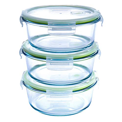Round Glass Food Storage Containers-3 pack(32 oz), Airtight with Snap Locking Vented Lids Meal Prep Containers-Microwave & Freezer Safe,BPA-FREE