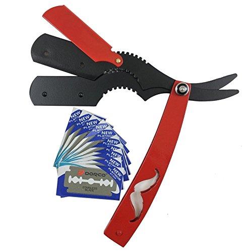 Razorless Classic Straight Edge Steel Shaving Razor Handle Folding Knife Barber & 10 Blades - Shaving Men's Manual Shaver