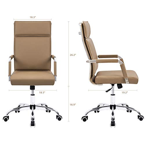 Homall Office Desk Chair Mid-Back Computer Chair Leather Executive Adjustable Swivel Task Chair Conference Chair with Armrests (Brown) by Homall (Image #5)
