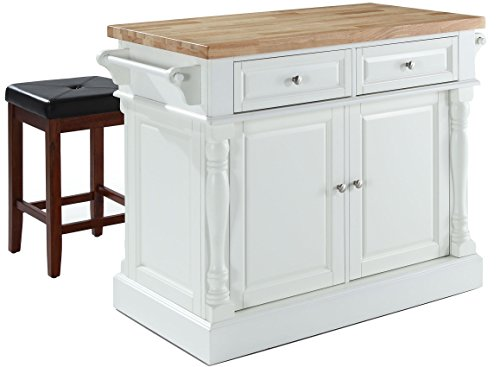 Crosley Furniture Kitchen Island with Butcher Block Top and 24-inch Upholstered Square Seat Stools - White / Black by Crosley Furniture