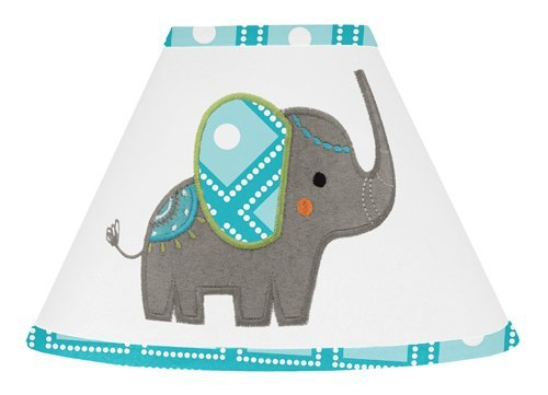 Sweet Jojo Designs Turquoise White and Gray Mod Elephant Girl or Boy Baby Childrens Lamp Shade (Baby Shade Boy Lamp)