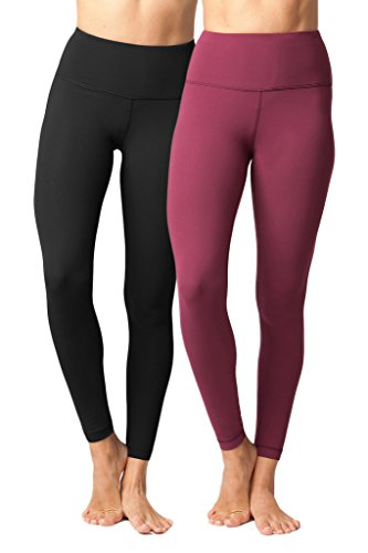 Yogalicious High Waist Ultra Soft Lightweight Leggings -  High Rise Yoga Pants - Black and Cherry Jubilee 2 Pack - Small - Natural Waist Pocket