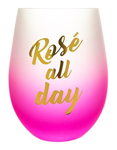 Novelty 16 Ounce Stemless Wine Glass (Rosé All (Pink Rose Wine)