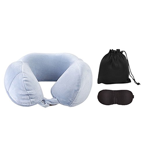 Sunptoo Travel Pillow Soft Memory Foam Neck Pillow for Airplanes, Travelling and Cars With Eye Mask, and Carry - Flannel Daisy Fabric