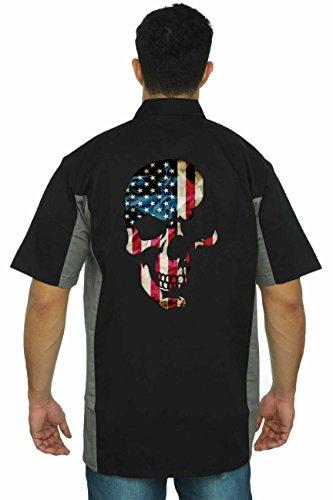 SHORE TRENDZ Men's Mechanic Work Shirt USA Flag Skull Americana: Black/Grey ()