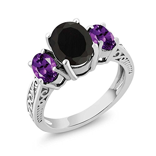 2.53 Ct Oval Black Onyx & Purple Amethyst 925 Sterling Silver 3-Stone Gemstone Women's Ring (Size 6)