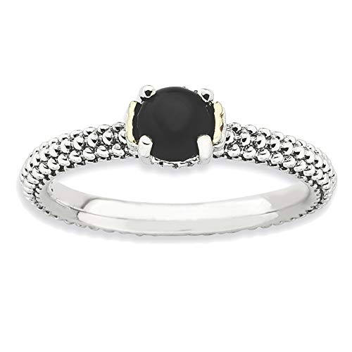 Lex & Lu Sterling Silver w/14k Gold Stackable Expressions Onyx Antiqued Ring LAL12727 from Lex & Lu
