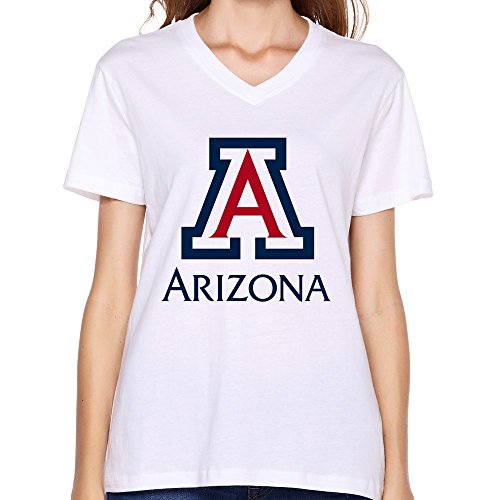 Aimei Print Women university of arizona Logo Best Graphic 100% Cotton V-Neck Teeshirts ()