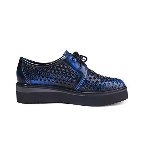 Women's Blue Flats Meshed Oxfords Round Shoes MINIVOG Toe zpfnvTf